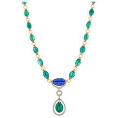 21.07 Carats Zambian Emerald Tanzanite and Diamond 18kt Gold Drop Necklace