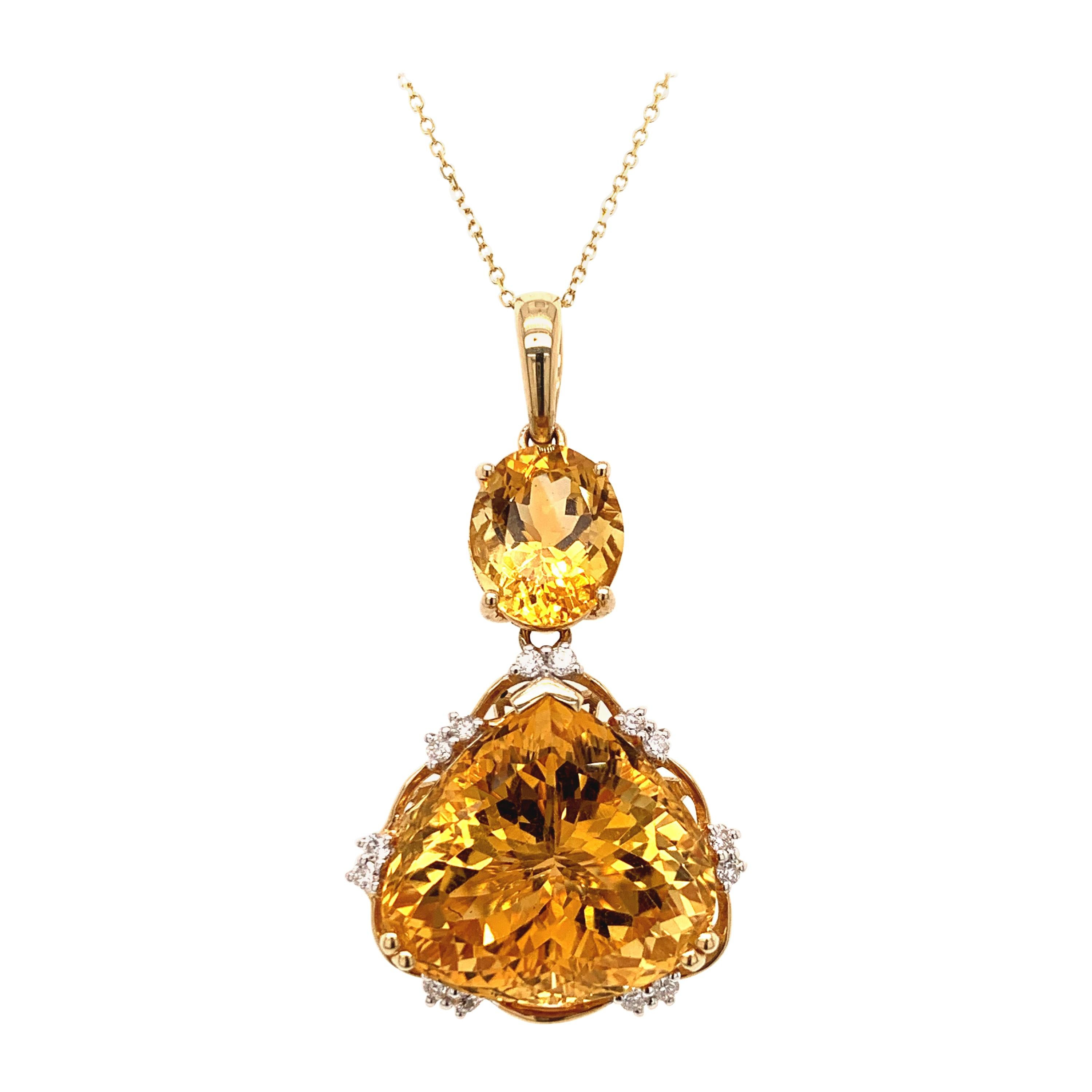 21.08 Carat Citrine Diamond Pendant Necklace