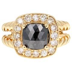 2.11 Carat Black Diamond 18 Karat Yellow Gold Bridal Ring