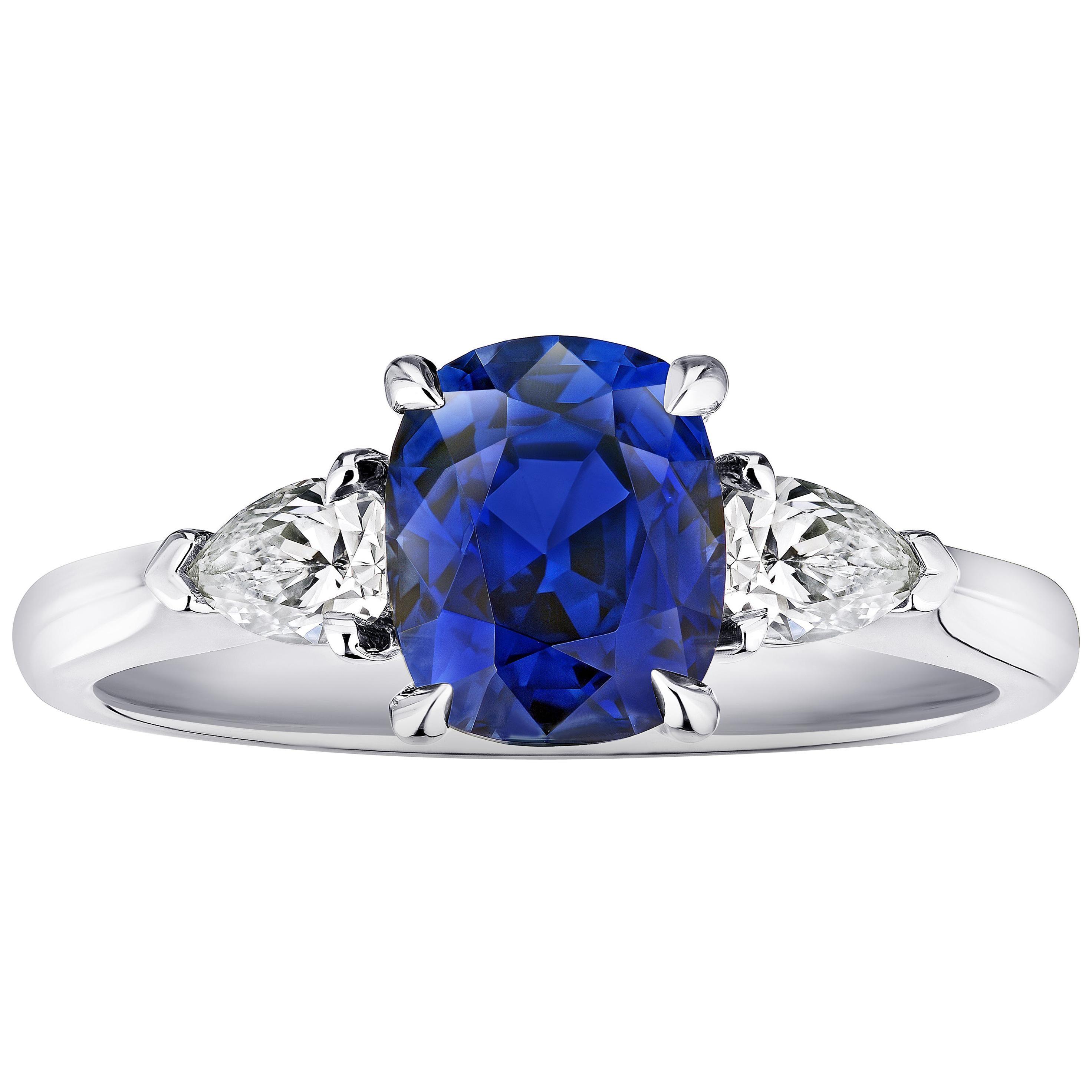 2.11 Carat Cushion Blue Sapphire and Diamond Ring