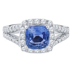 2.11 Carat Cushion Cut Sri Lanka Blue Sapphire GIA Lab Report 18K Diamond Ring