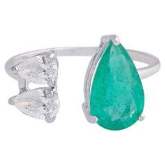 2.11 Carat Emerald Diamond 18 Karat White Gold Open Ring