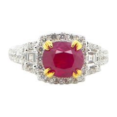 2.11 Carat GIA Certified Unheated Vivid Red Burmese Ruby and Diamond Gold Ring