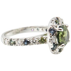 2.11 Carat Green Parti Sapphire and Diamond Engagement Ring