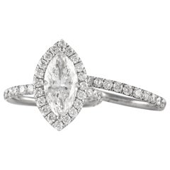 EGL 2.11 Carat E VVS2 Marquise Diamond with Halo Ring & Eternity Band Platinum