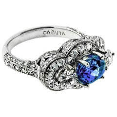 2,11 Karat natürliche Ceylon-Saphir und Diamant Platin Verlobungsring