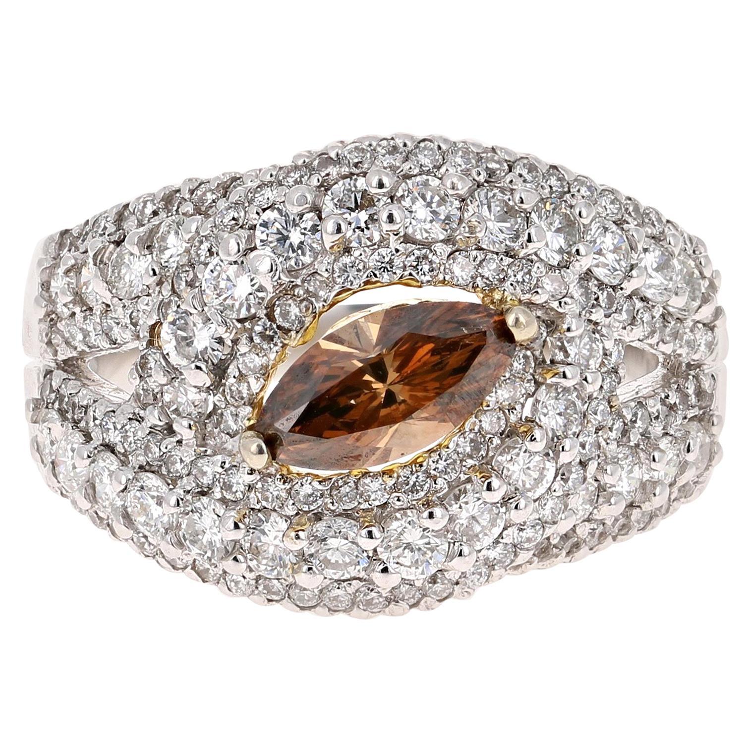2.11 Carat Natural Fancy Brown Diamond Engagement Ring 14 Karat White Gold