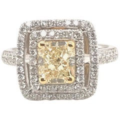 2.11 Carat Natural Fancy Yellow Diamond Ring with 18 Karat White and Yellow Gold