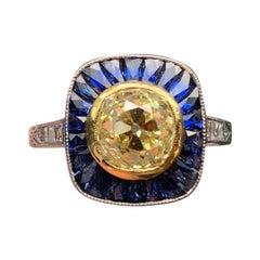 2.11 Carat Old Mine Cut Yellow Diamond Art Deco Style Ring