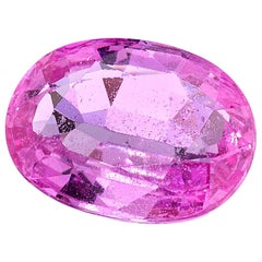 2.11 ct. Pink Sapphire Oval GIA, Loose Unset 3-Stone Engagement Ring Gemstone