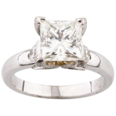 2.11 Carat Princess Cut Diamond 14 Karat White Gold Solitaire Engagement Ring
