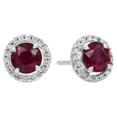 2.11 Carat Ruby and Diamond Halo Stud Earrings