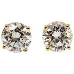 2.11 Carat Total Round Solitaire Diamond Stud Earrings in 14 Karat Yellow Gold