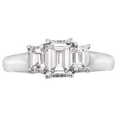 2.11 Carat Trilogy Platinum Emerald Cut Engagement Ring
