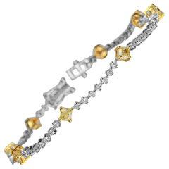 2.11 Carat T.W. Yellow Diamond 14 Karat Two-Tone Gold Bracelet