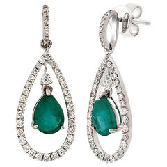 2.11 Carat Colombian Emerald and 0.98 Carat Diamonds 18K Gold Dangle Earrings
