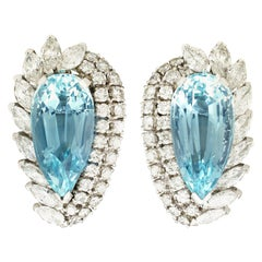 21.12 Carat Aquamarine and 5.86 Carat Diamond Earrings