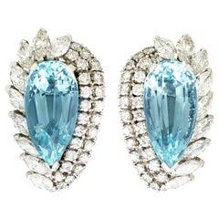 21.12 Carat Aquamarine and 5.86 Carat Diamond Earrings