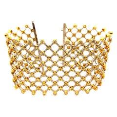 21.12 Carat Diamond Lattice Bracelet Cuff