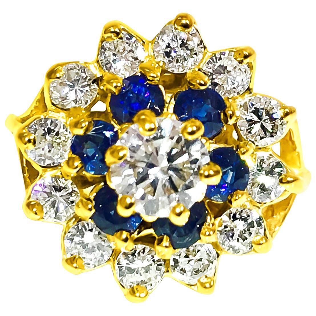 2.12 Carat Blue Sapphire Diamond Cocktail Ring 18 Karat Yellow Gold