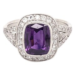 2.12 Carat Cushion Sapphire Diamond Platinum Ring Estate Fine Jewelry