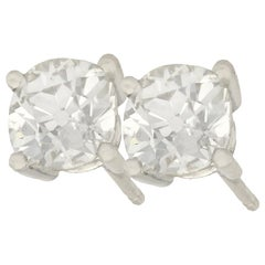 2.12 Carat Diamond and Platinum Stud Earrings