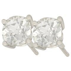 2.12 Carat Diamond and Platinum Stud Earrings