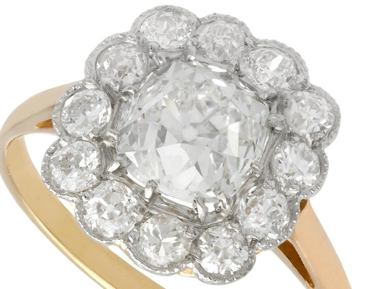 Old European Cut 2.12 Carat Diamond and Yellow Gold Cluster Ring For Sale