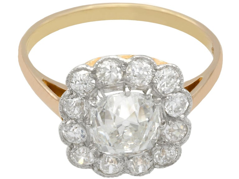 2.12 Carat Diamond and Yellow Gold Cluster Ring In Excellent Condition For Sale In Jesmond, Newcastle Upon Tyne