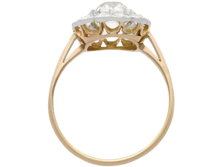 Women's or Men's 2.12 Carat Diamond and Yellow Gold Cluster Ring For Sale