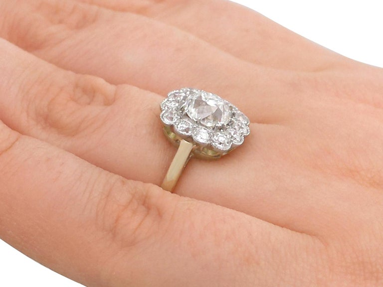 2.12 Carat Diamond and Yellow Gold Cluster Ring For Sale 2