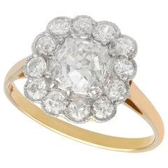 2.12 Carat Diamond and Yellow Gold Cluster Ring
