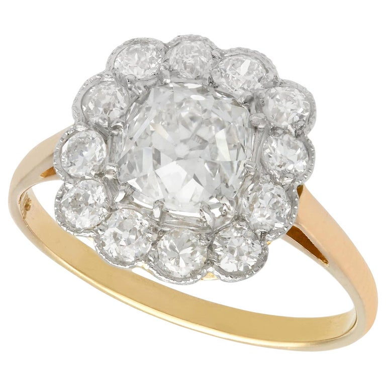2.12 Carat Diamond and Yellow Gold Cluster Ring For Sale