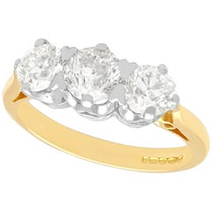 2.12 Carat Diamond and Yellow Gold Three-Stone Ring