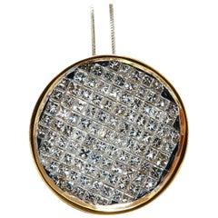 2.12 Carat Diamonds Invisible Princess Cut Circular Cluster Necklace 14 Karat