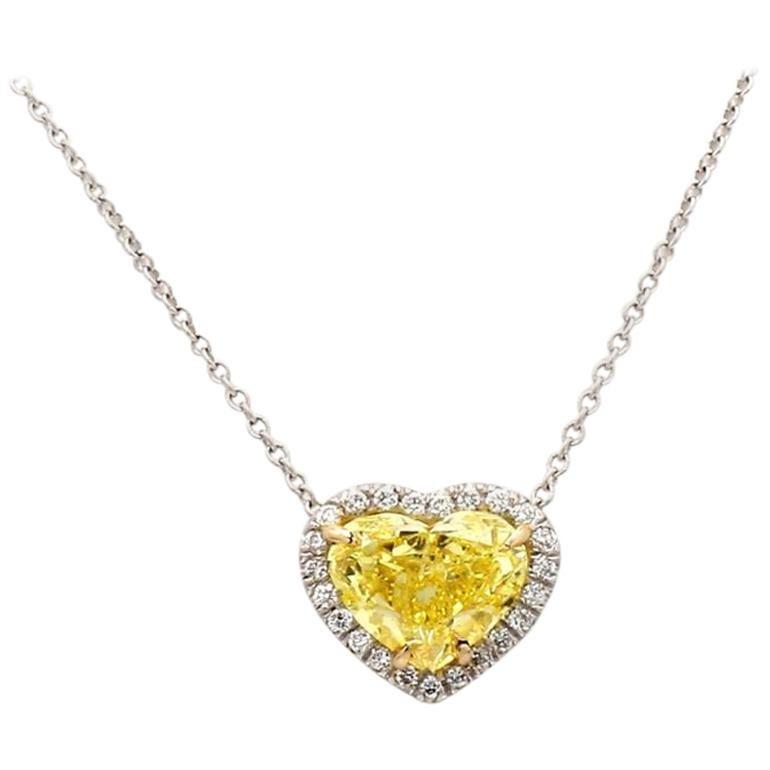 2.12 Carat Fancy Vivid Yellow Heart Shaped Diamond Necklace, GIA Certified