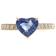 2.12 Carat Heart Blue Sapphire and Pave'd Diamond Ring in 18 Karat Pink Gold
