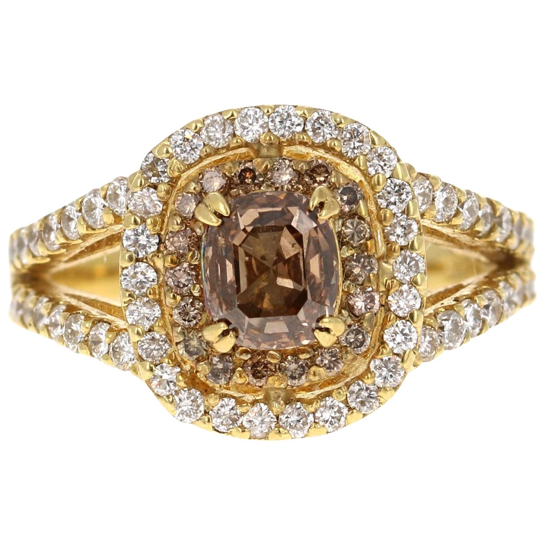 2.12 Carat Natural Fancy Champagne Diamond Engagement Ring 18 Karat Yellow Gold