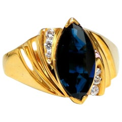 2.12 Carat Natural Midnight Blue Sapphire Marquise Ring 14 Karat