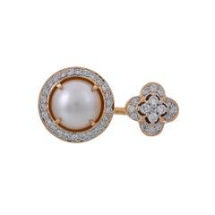 2.12 Carat Pearl Pave Set Diamond 18 Karat Yellow Gold Open Band Ring