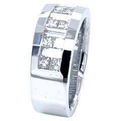 2.12 Carat Princess Cut/Baguette Diamond 18 Karat Gents Ring