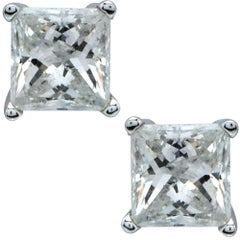 2.12 Carat Princess Cut Diamond Solitaire Stud Earrings