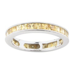 2.12 Carat Princess Cut Yellow Sapphire Eternity Band in Platinum