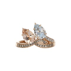 2.12 Carat Total Morganite and Aquamarine Ring with Diamonds in 18 Karat Gold
