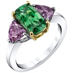 2.12 Carat Tsavorite Garnet with 1.63 Carats Spinel 18 Karat White Gold Ring