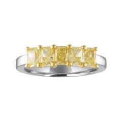 2.12 Carats Diamond Cushion Fancy Yellow 5-Stone Gold Platinum Half Band Ring