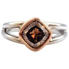 2.12 Cushion Diamond Ring GIA Fancy Dark Orangy Brown 18 Karat Gold