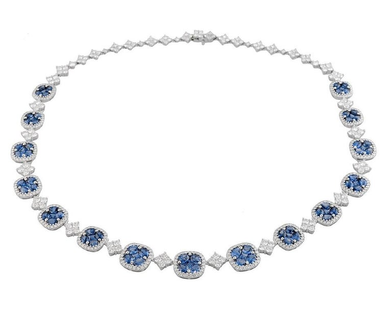 21.23 Carat Vivid Blue Sapphire and Diamond Necklace in 18 Karat White Gold For Sale 2