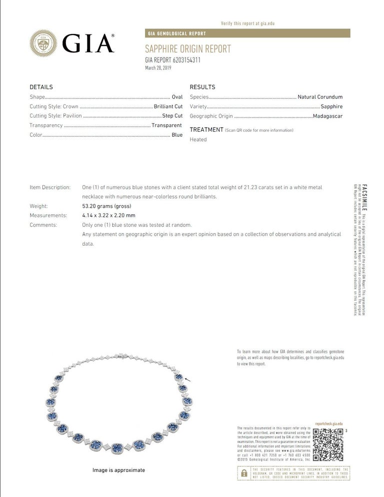 21.23 Carat Vivid Blue Sapphire and Diamond Necklace in 18 Karat White Gold For Sale 3