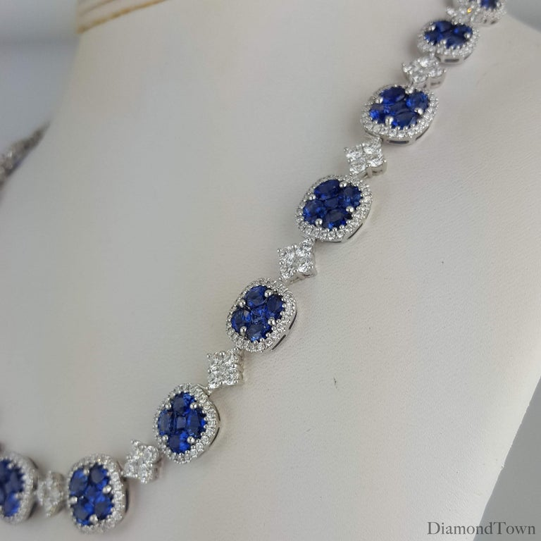 Contemporary 21.23 Carat Vivid Blue Sapphire and Diamond Necklace in 18 Karat White Gold For Sale